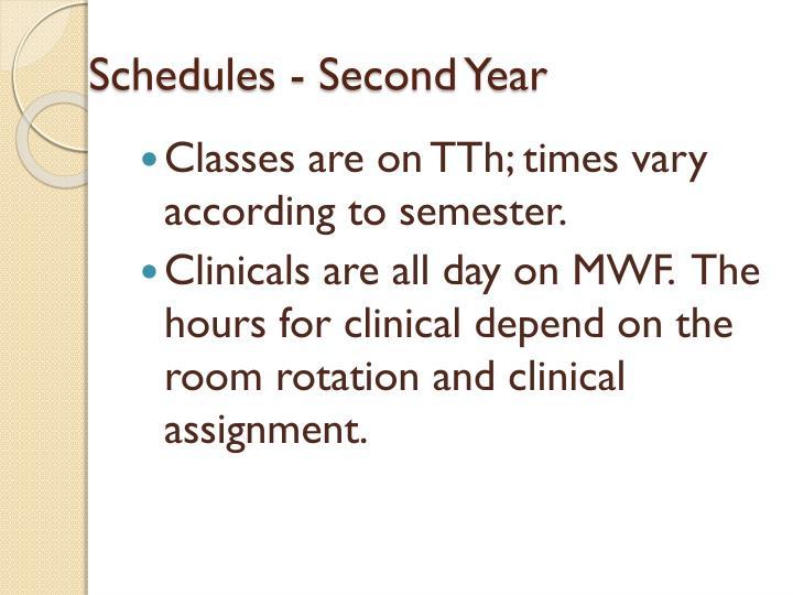 Schedules - Second Year