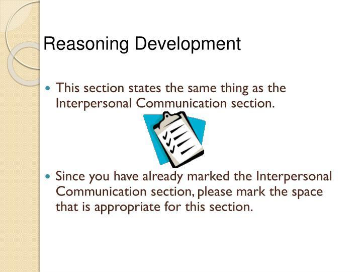 Reasoning Development