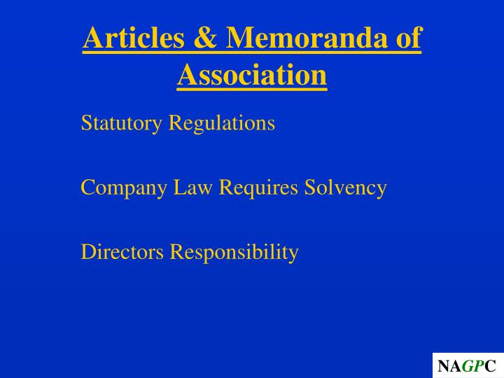 Articles & Memoranda of Association