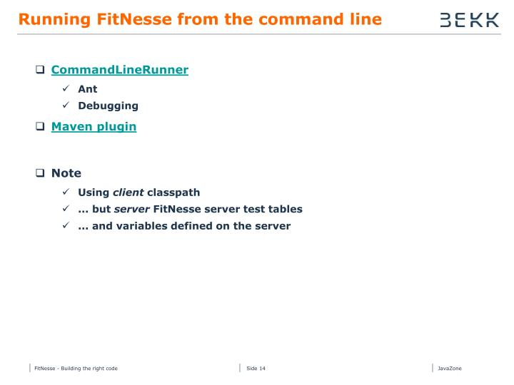 Running FitNesse from the command line