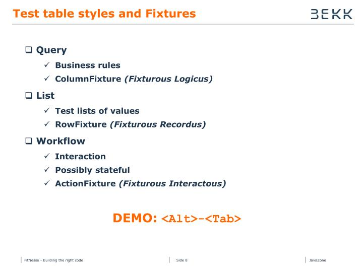 Test table styles and Fixtures