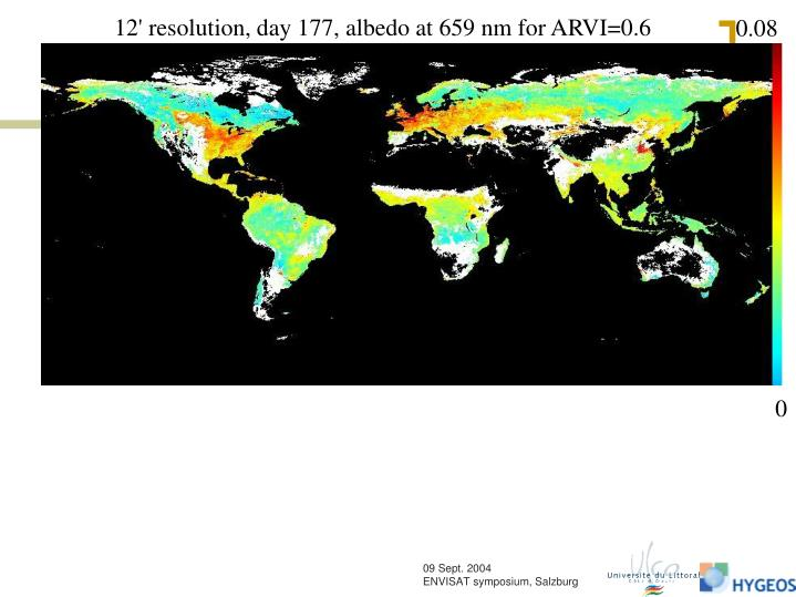 12' resolution, day 177, albedo at 659 nm for ARVI=0.6