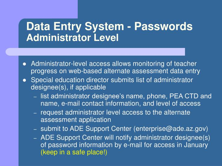 Data Entry System - Passwords