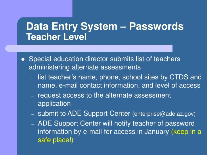 Data Entry System – Passwords