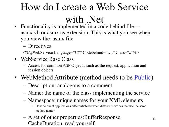 How do I create a Web Service with .Net