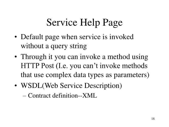 Service Help Page
