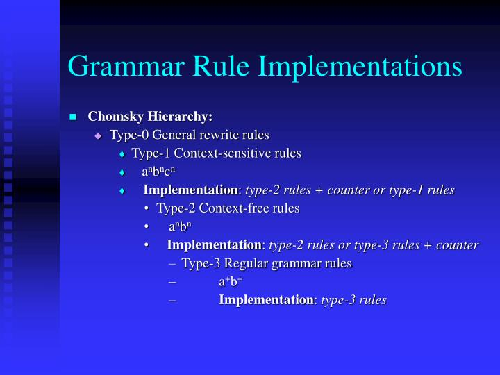 Grammar Rule Implementations