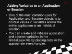 adding variables to an application or session