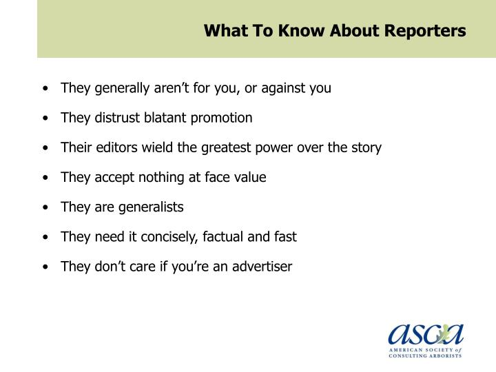 What To Know About Reporters