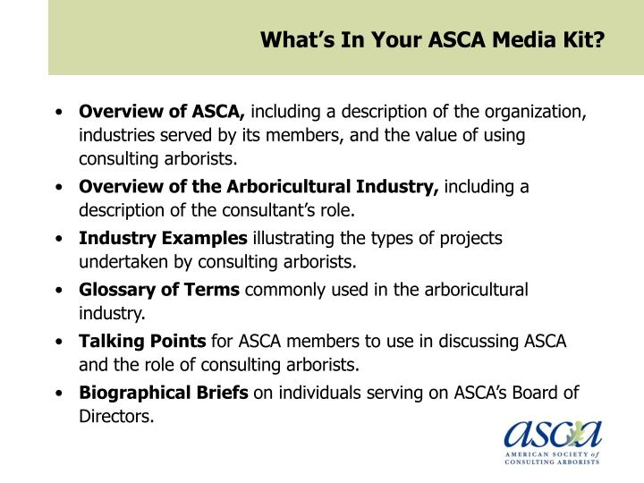 What's In Your ASCA Media Kit?