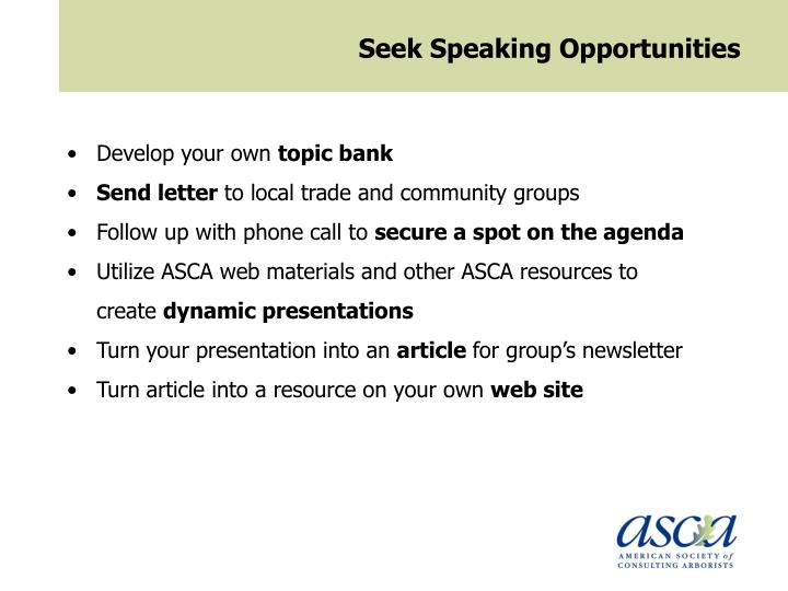 Seek Speaking Opportunities