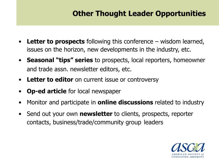 Other Thought Leader Opportunities