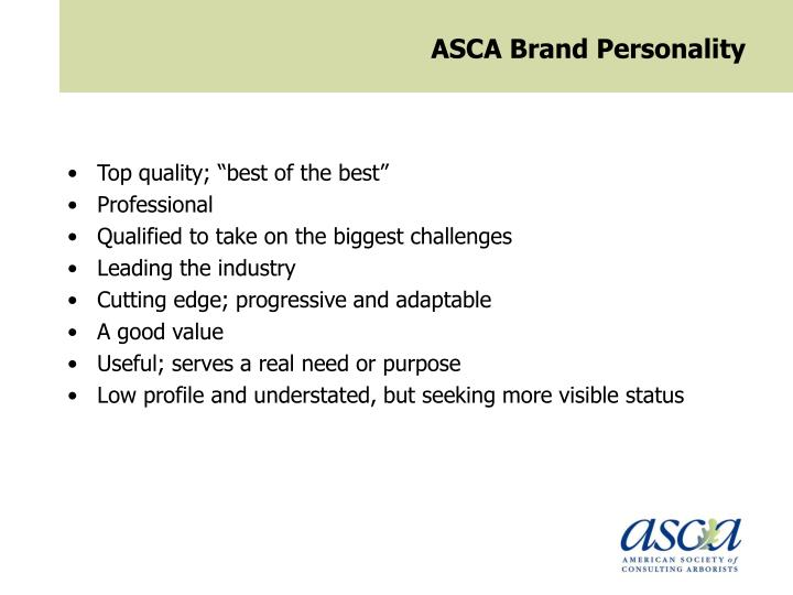 ASCA Brand Personality