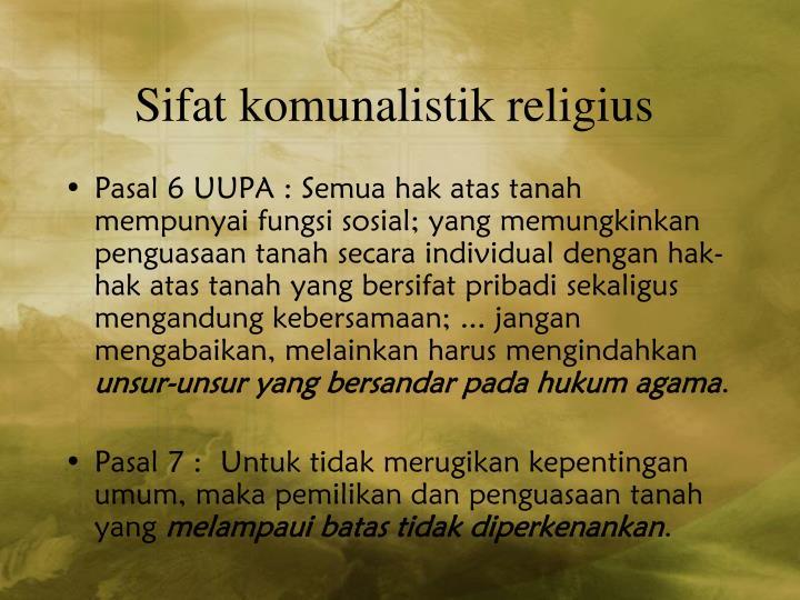 Sifat komunalistik religius