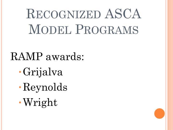 Recognized ASCA Model Programs