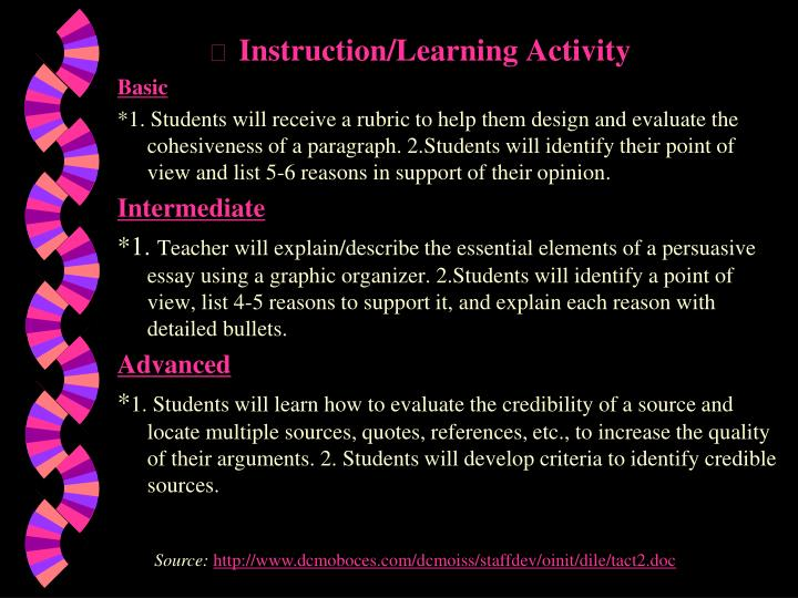 Instruction/Learning Activity