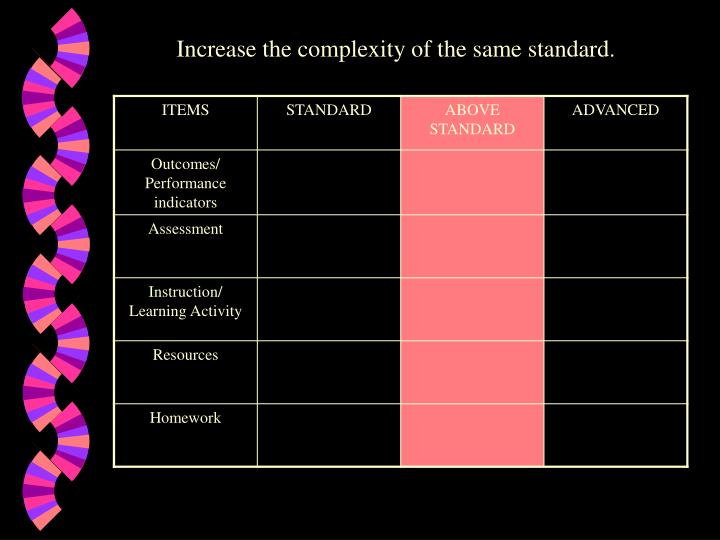Increase the complexity of the same standard.