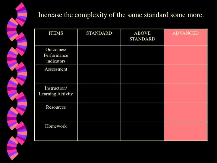 Increase the complexity of the same standard some more.