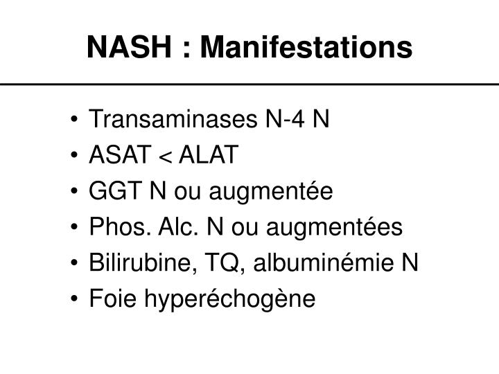 NASH : Manifestations