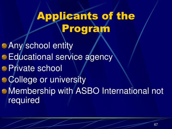 Applicants of the Program