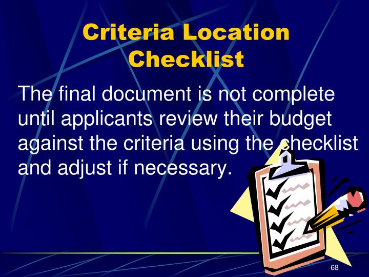 Criteria Location Checklist