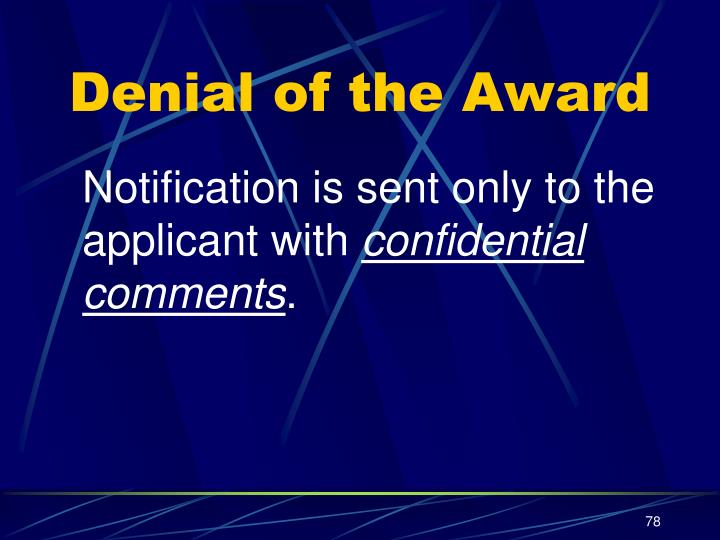 Denial of the Award