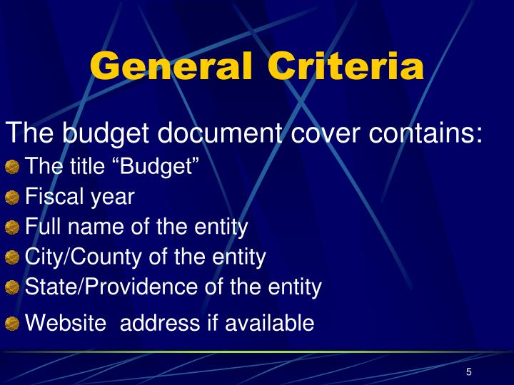 General Criteria