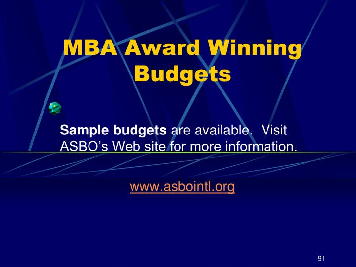 MBA Award Winning Budgets