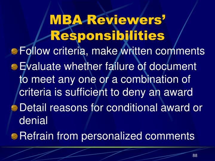MBA Reviewers' Responsibilities