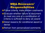 mba reviewers responsibilities