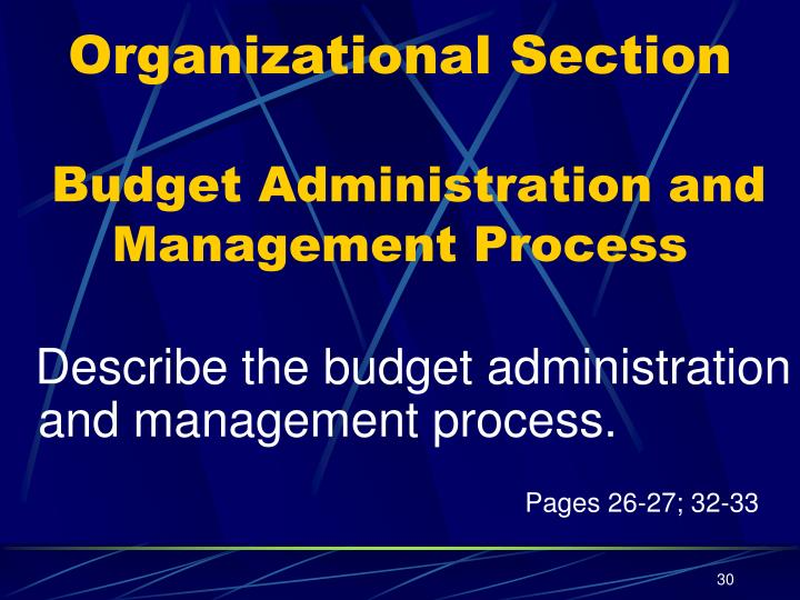 Organizational Section