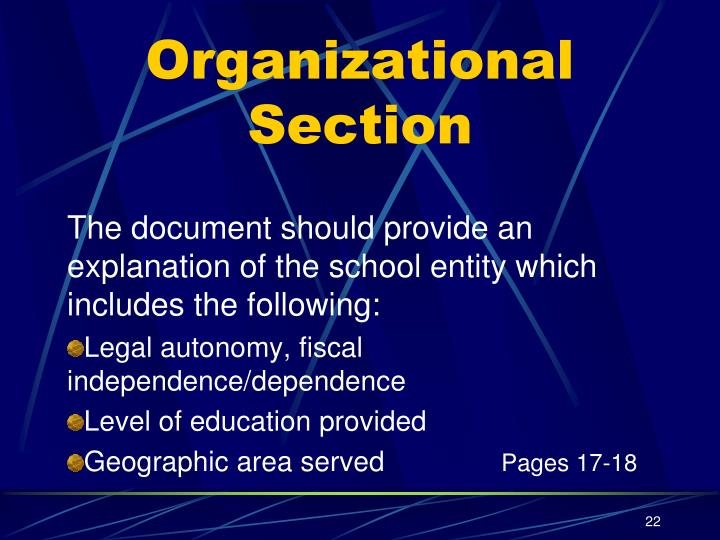 The document should provide an explanation of the school entity which includes the following: