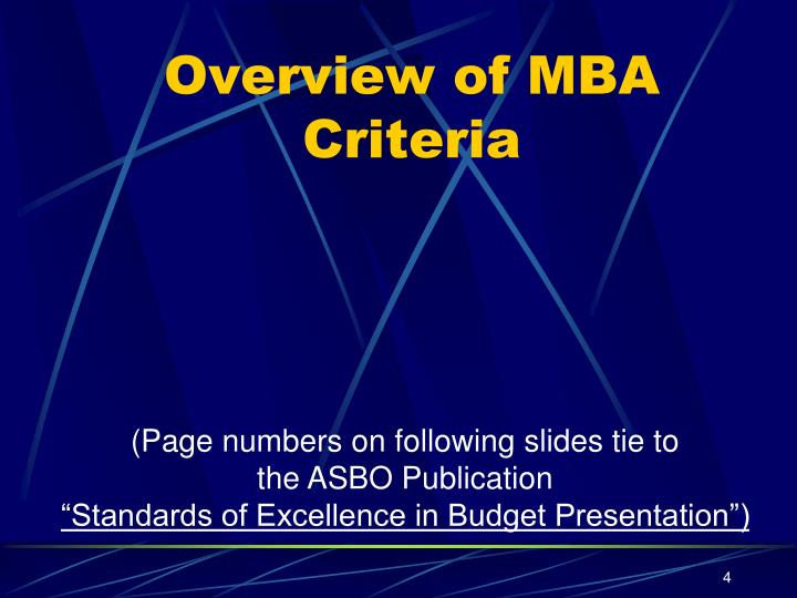 Overview of MBA Criteria