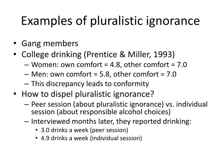 Examples of pluralistic ignorance