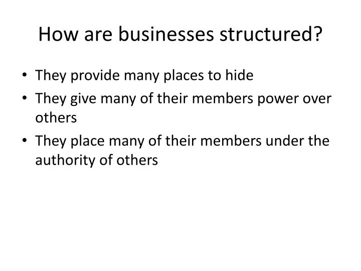 How are businesses structured?