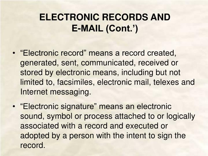 ELECTRONIC SIGNATURES AND E-COMMERCE