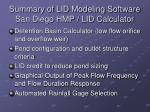 summary of lid modeling software san diego hmp lid calculator