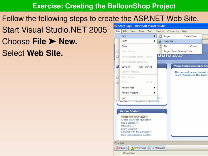 Exercise: Creating the BalloonShop Project