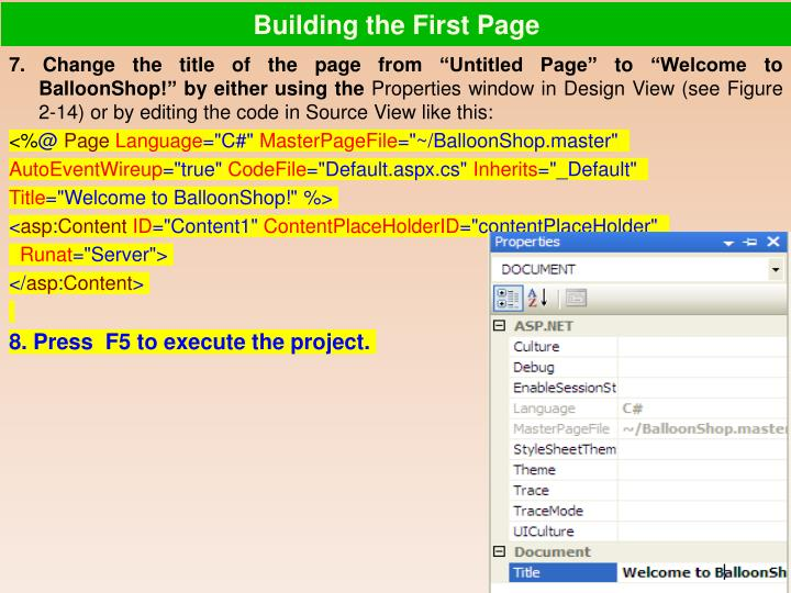 Building the First Page