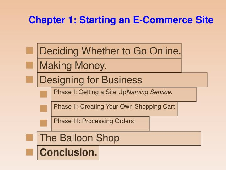 Chapter 1: Starting an E-Commerce Site
