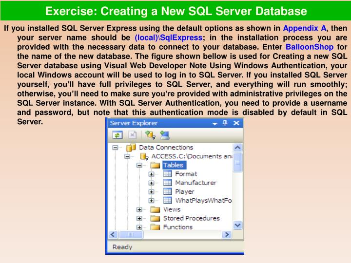 Exercise: Creating a New SQL Server Database