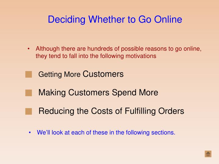 Deciding Whether to Go Online