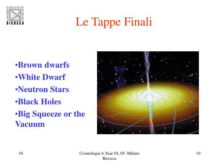 Le Tappe Finali