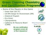 green cleaning chemistry and certification programs