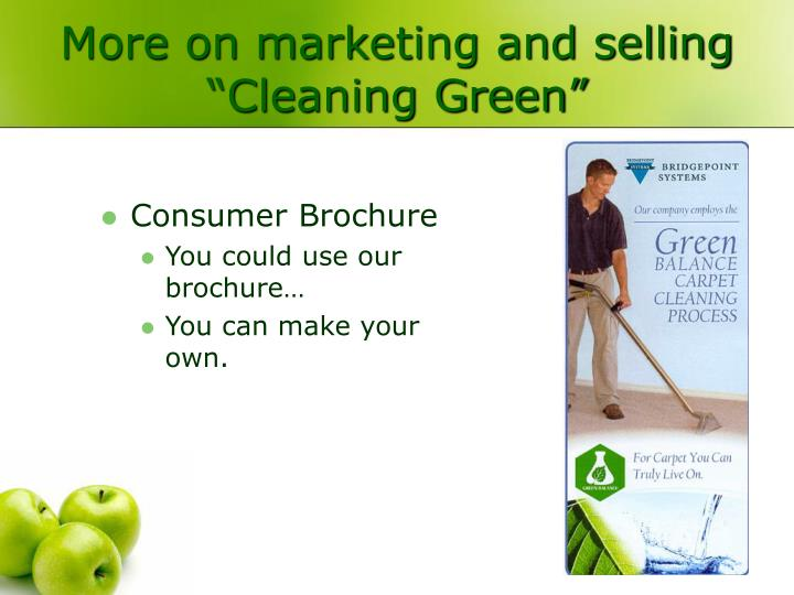 "More on marketing and selling ""Cleaning Green"""