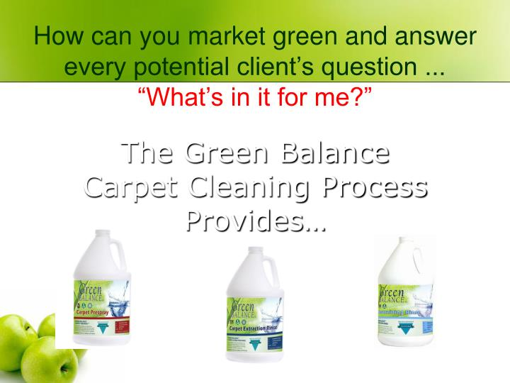 The Green Balance Carpet Cleaning Process Provides…