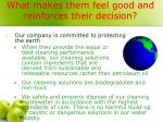 what makes them feel good and reinforces their decision
