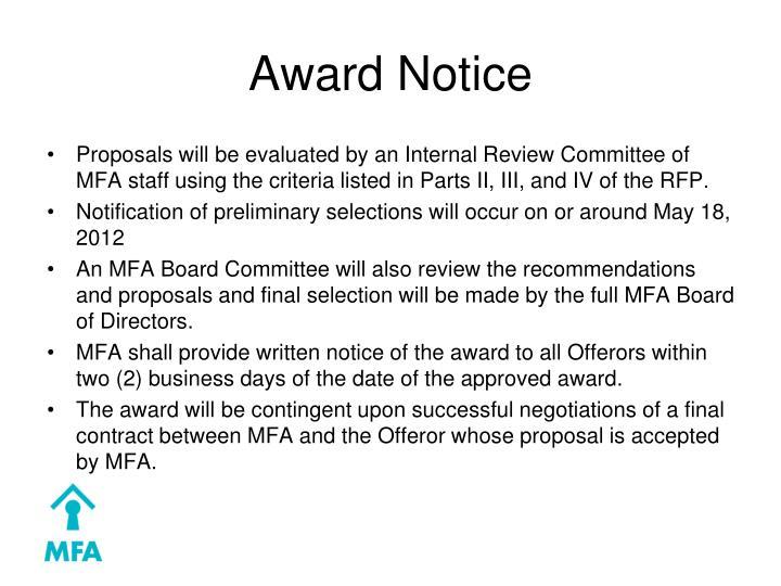 Award Notice