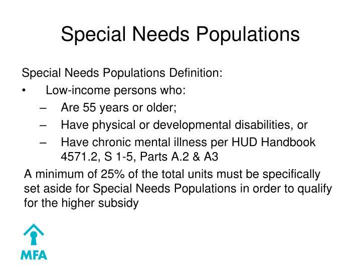 Special Needs Populations
