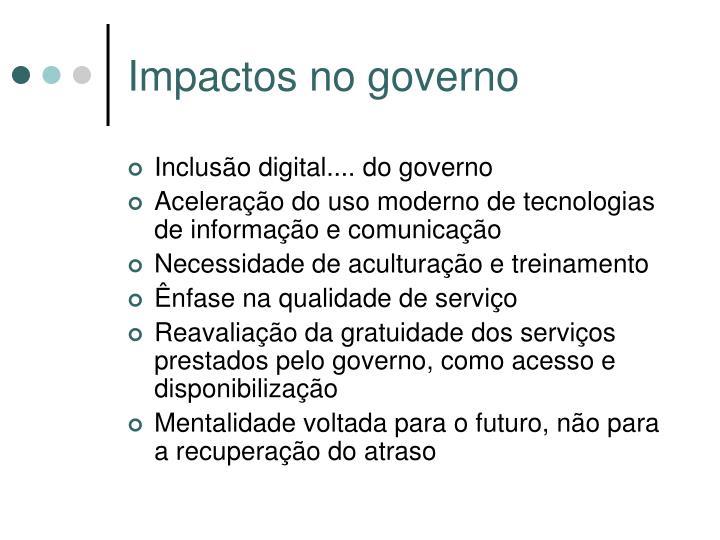 Impactos no governo